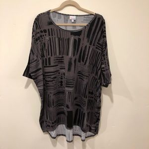 LuLaRoe Irma Tunic Top, Gray Abstraction Print